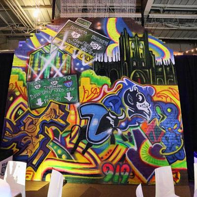custom built, graffiti wall, duke university, event design, north carolina event design, event designers, custom builders, theme props, themed props north carolina, prom rentals, weddings, social events, corporate events, party rentals
